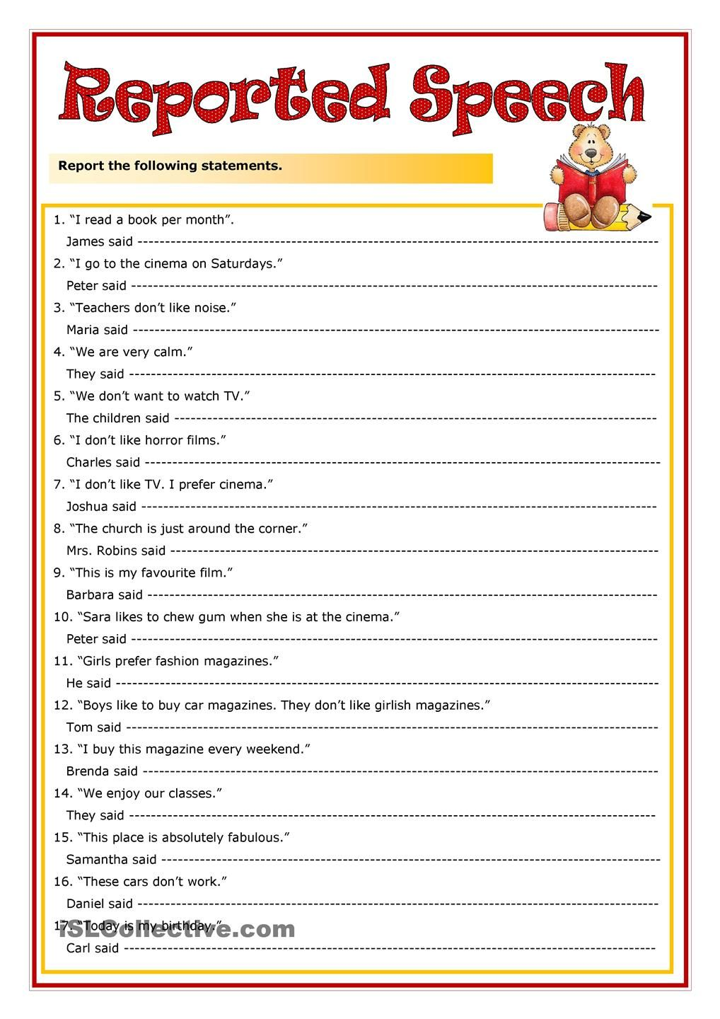 Reported speech statements exercises pdf